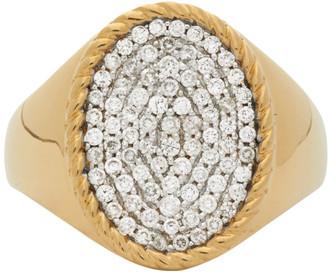 Yvonne Léon Gold Diamond Oval Signet Ring