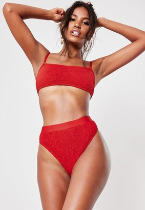 Missguided Red Crinkle Mix And Match High Waisted High Leg Bikini Bottoms