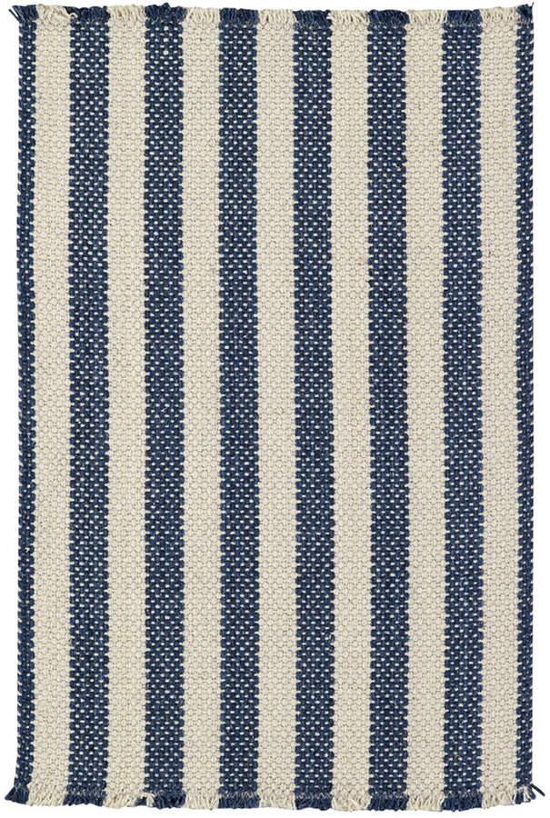 Capel Area Rug, Hampton Flatweave 0404-460 Denim Stripe 2' x 3'
