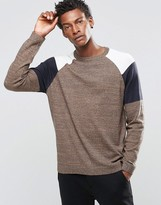 Asos Cotton Sweater With Color Block Shoulder
