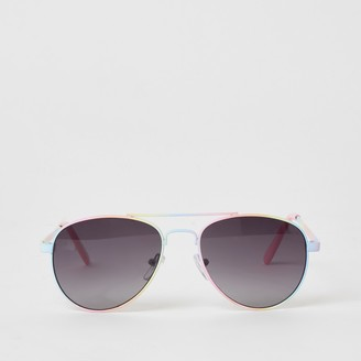 River Island Girls Pink rainbow aviator sunglasses