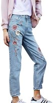 Simplee Apparel Women's Capris Denim Embroidered Jeans Pants Trouser