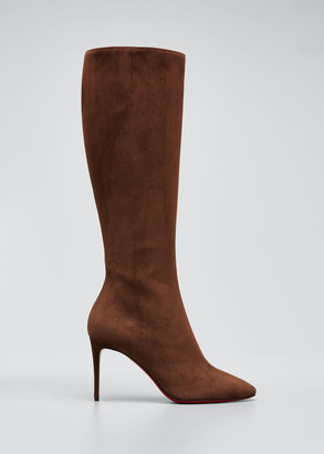 Christian Louboutin Eloise Suede Tall Red Sole Boots