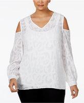Alfani Plus Size Jacquard Cold-Shoulder Blouse, Only at Macy's