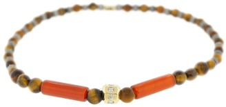 Luis Morais 18kt Yellow Gold, Diamond And Tiger Eye Beaded Bracelet