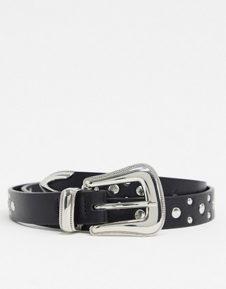 ASOS DESIGN skinny western belt in black faux leather with studding