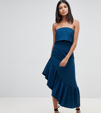 Asos Tall ASOS DESIGN Tall soft bandeau midi dress with peplum