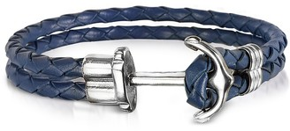 Forzieri Navy Blue Leather Men's Bracelet w/Anchor