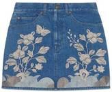 Gucci Embroidered denim mini skirt