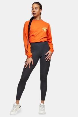 Topshop Womens Charcoal Grey Elastic Leggings - Black