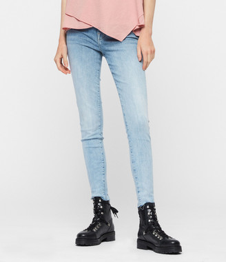 AllSaints Roxanne Cropped Skinny High-Rise Jeans, Light Indigo Blue