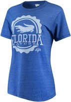 Unbranded Women's Lauren James Heathered Royal/White Florida Gators Prep and Pride Tri-Blend T-Shirt