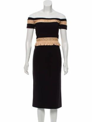 Alexis Off-The-Shoulder Midi Length Dress Black