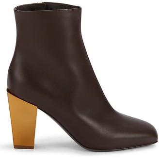 Salvatore Ferragamo Flannel Leather Heeled Booties