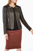 BCBGMAXAZRIA Blake Zip-Front Quilted Leather Jacket