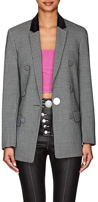 Alexander Wang Women's Sleeve-Detail Houndstooth One-Button Blazer - Gray