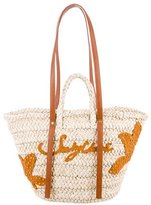See by Chloe Leather-Trimmed Straw Tote