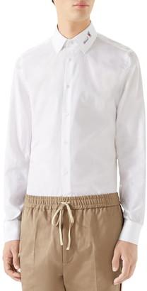 Gucci Logo Collar Slim Fit Cotton Shirt