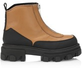 Thumbnail for your product : Ganni Lug-Sole Leather Combat Boots