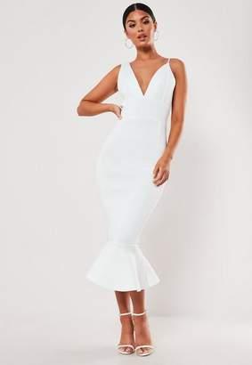Missguided White Plunge Asymmetric Cami Scuba Midi Dress