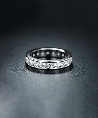 Swarovski Barzel Women's Rings Silver/White - Silvertone Eternity Band With Crystals