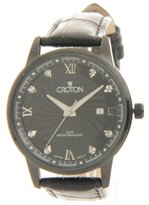 Croton Men's Leather CN307445BKBK Crystal Dress Date Slim Watch