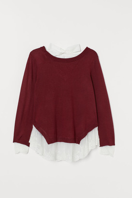 H&M Lace-trimmed Sweater - Red