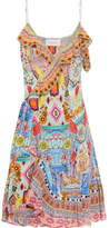 Camilla Embellished Printed Silk-georgette Wrap Dress - Yellow