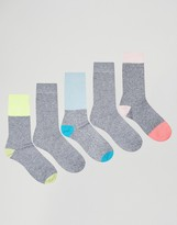 Asos Boot Socks With Neon & Pastel Panels 5 Pack