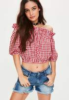 Missguided Red Gingham Frill Detail Bardot Top, Red