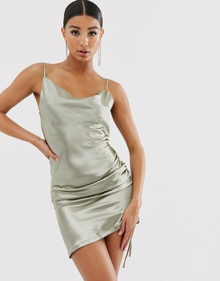 Public Desire X Lissy Roddy mini cami dress in satin-Green