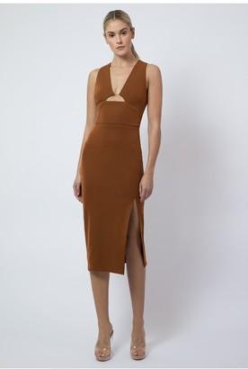 Aq/Aq Wolfe Deep Plunge Midi Dress - Metallic Bronze