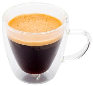 Restaurantware Glass Espresso Cup, Glass Coffee Cup, Glass Tea Cup - Forma Double Wall Cup with Handle - 3.2 oz - 10ct Box