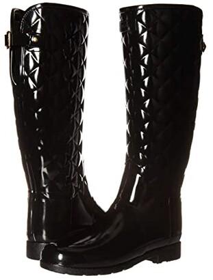 Hunter Refined Gloss Quilt Tall Rain Boots (Black) Women's Rain Boots