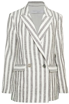 IRO Striped Double-Breasted Linen Jacket