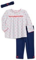 Little Me Infant Girl's Heart Stripe Tunic, Pants & Headband Set