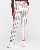 Express High Waisted Ruffle Top Textured Ankle Pant