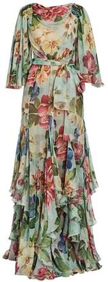 Dolce & Gabbana Chiffon Floral-Silk Flutter-Sleeve Gown