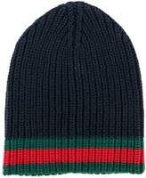 Gucci GG vintage web ribbed beanie