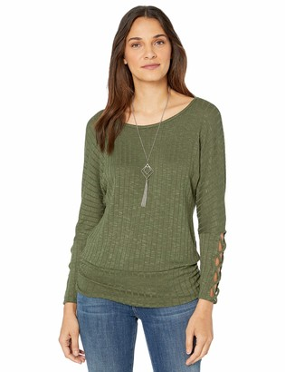 Amy Byer Women's 3/4 Sleeve Ribbed Sweater