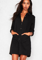 Missy Empire Tessie Black Distressed Pocket Shirt Dress