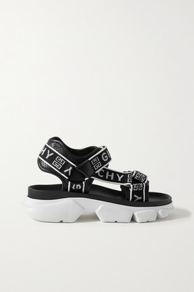 Givenchy Jaw Logo-jacquard And Perforated Faux Leather Platform Sandals - Black