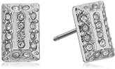 Jessica Simpson Hammered Square Rhodium Stud Earrings