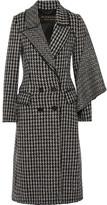 Burberry Draped Houndstooth Wool Coat - Black