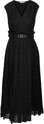 Fendi Belted Pleated Embroidered Silk-organza Midi Dress