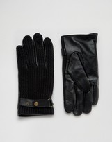 Asos Leather And Knit Gloves In Black