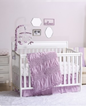 The Peanut Shell The Lilac Kisses 3-Piece Crib Bedding Set Bedding