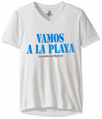 Marky G Apparel Men's Vamos A La Playa 2 Graphic Sueded V-Neck T-Shirt