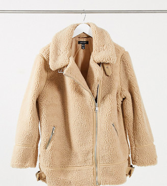 New Look Plus New Look Curve teddy borg aviator jacket in camel