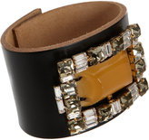 Marni Leather Cuff with Crystals & Center Stone
